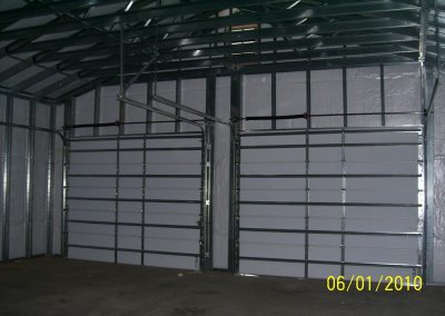 Steel frame garage interior view