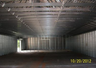 Steel frame garage interior view (2)