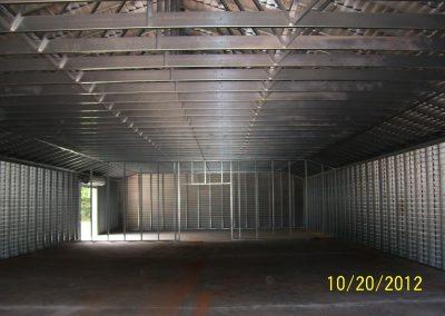 Steel frame garage interior view (2)