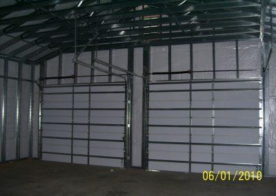 Steel frame garage interior view